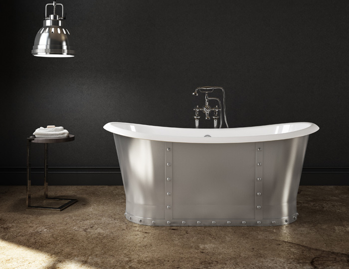 CAST IRON BRUSHED STEEL Bathtub Slik Portfolio