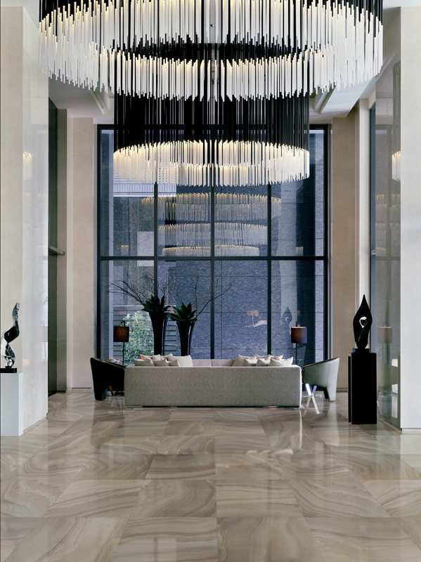 Large circular chandelier in lobby